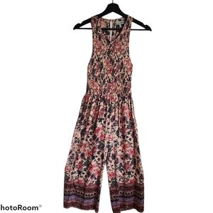 Almost Famous Sleeveless Smocked Jumpsuit Size Med